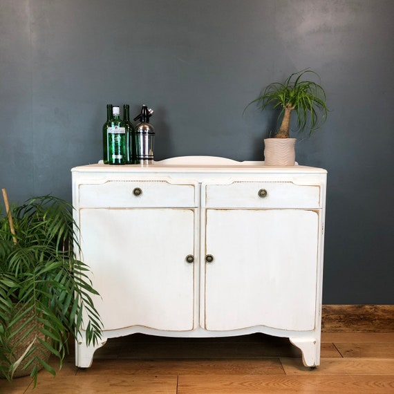Vintage Cupboard Drawers Sideboard Painted Shabby Chic White Rustic Distressed