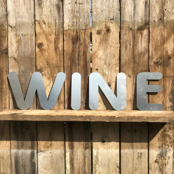 WINE Lettering Letters GALVANIZED Metal Shop Home Bar Drinks Sign Rustic Deco