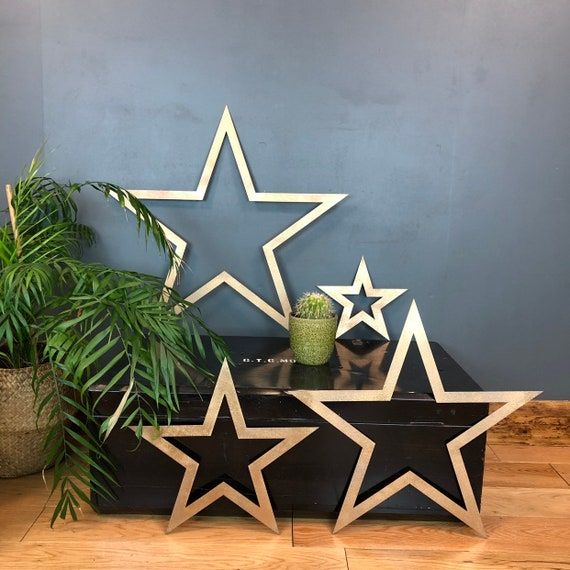4 Stars Industrial Sign Metal Shabby Chic Rustic Gold Home Decor Wall Boho Urban