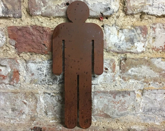 Rusty metal man , mens toilets , gentlemans Toilet , toilet Door Sign , Shop signs , bar ,  Pub , Cafe signs , bathroom sign , changing room