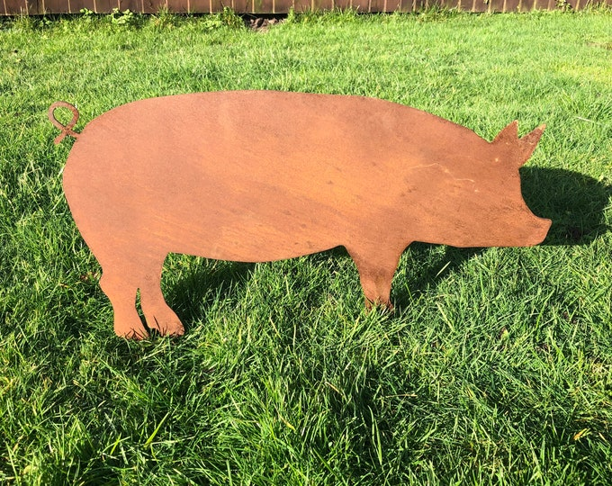 Rusty PIG , garden Sign , rusted Metal, Home Garden Ornament ,Animal Decoration , Garden statue , lawn feature , rustic
