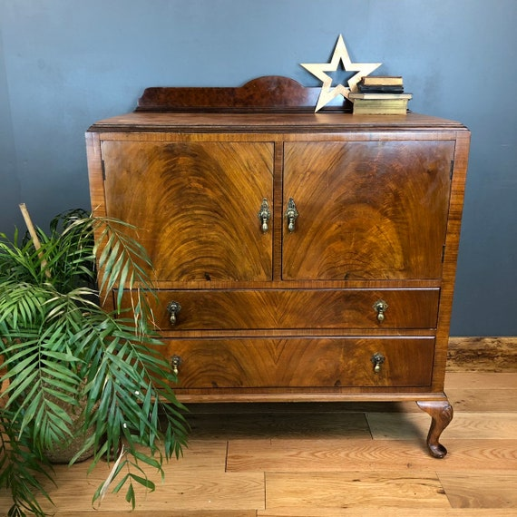 Vintage Tallboy Cupboard Shelves Shabby Chic Drawers Rustic Bedroom Storage