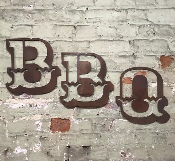 BBQ Rusty metal word letters, shop home sign house name, lettering, rusted, industrial, vintage, numbers, pub, bbq