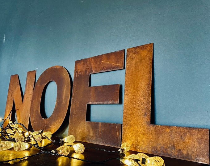 """Christmas Decorations /Rusty Metal Letters / Fat Font 5"""" or 12"""" / Personalised Xmas Decor / Christmas gift for her / gift for him"""