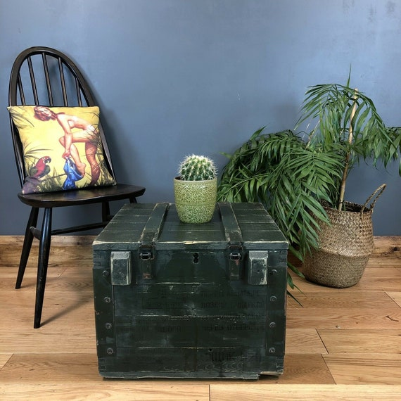 Vintage Reclaimed Pine Upcycled Army Trunk Chest Box Coffee Table Industrial