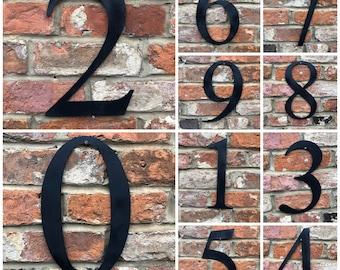 "Large 12"" BLACK Metal HOUSE Door Wall NUMBER Sign Vintage Rustic Classic"