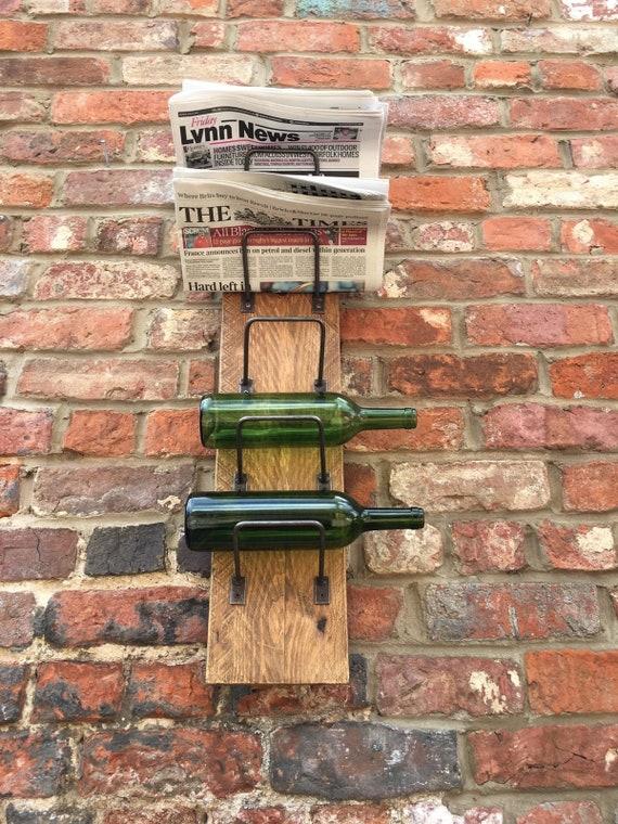 Reclaimed Wooden Pine Metal Rustic Newspaper Letter Wine Bottle Rack Holder