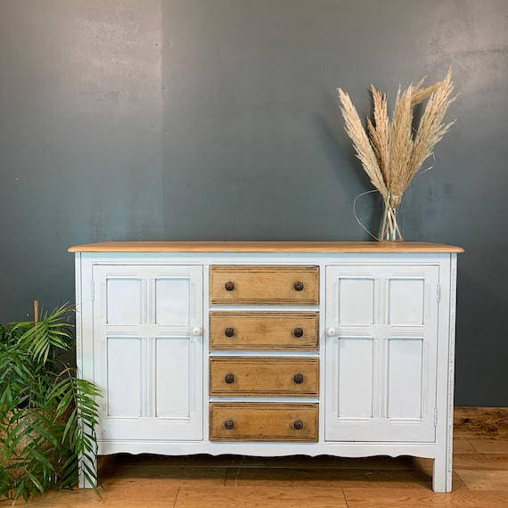 Vintage Ercol Cupboard Rustic Sideboard Boho Drawers Painted Elm Off-White