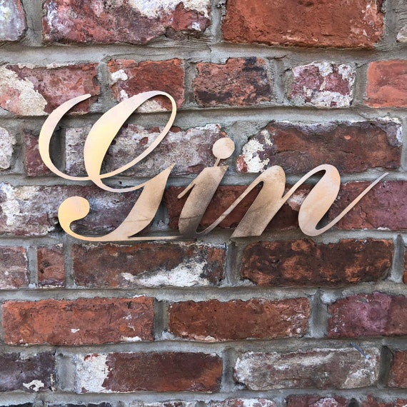 Gold GIN Word Sign Metal Shop Rustic Pub Cafe Bar Tiki Cocktails Boho Scandi