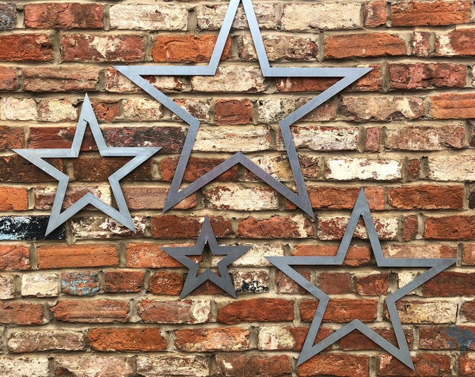 4 galvanised steel metal barn Stars Sign set , metal stars , Shabby Chic signs , Rustic Decoration , House , Home , Garden Feature ornaments