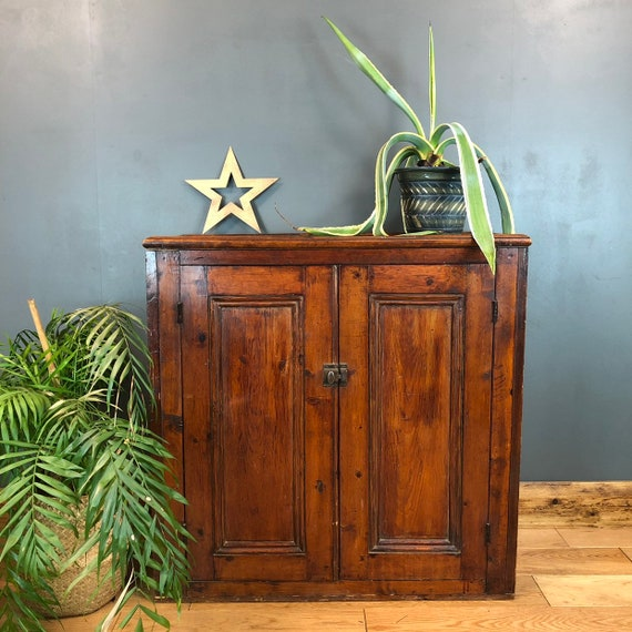 Antique Double Cupboard Rustic Vintage Old Pine Storage Shabby Chic