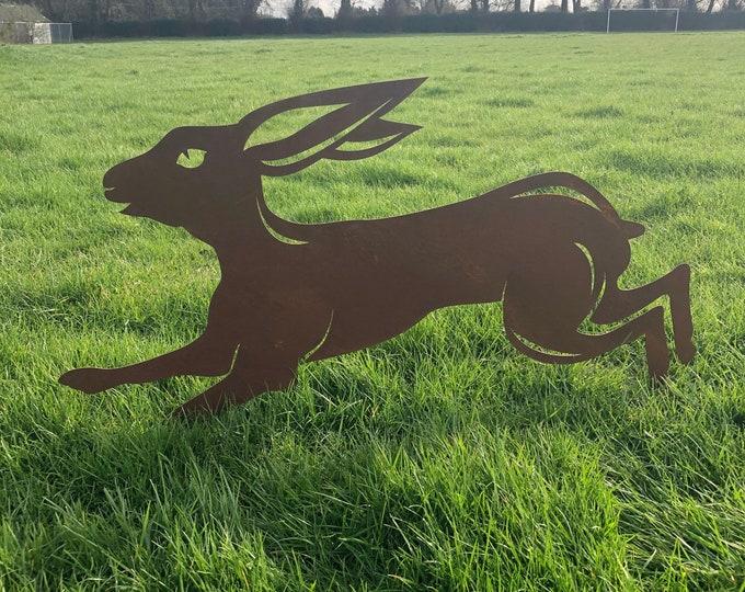 Garden ornament, Rusty Metal Running LEAPING HARE , garden Sign , Silhouette , Garden Feature. jumping hare , boxing hare , garden statue