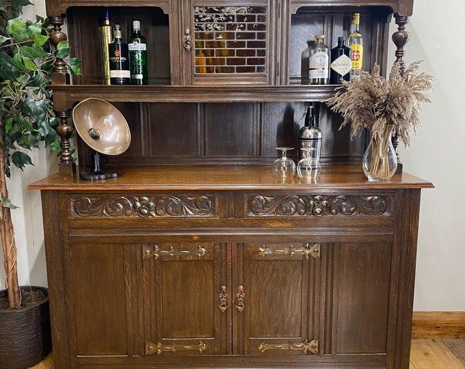 Vintage Oak Dresser / Cocktail Home Bar / Oak Sideboard / Court Cupboard