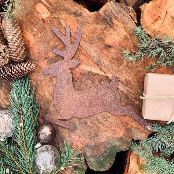Rusty REINDEER Christmas deer Sign Metal Plaque Home decoration Nordic Rustic