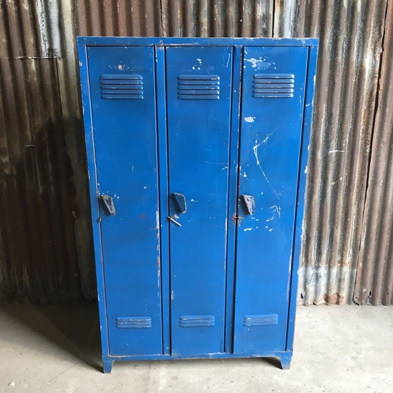 Triple Industrial Vintage Lockers, Factory Loft Funky Retro 3 Door Wardrobe