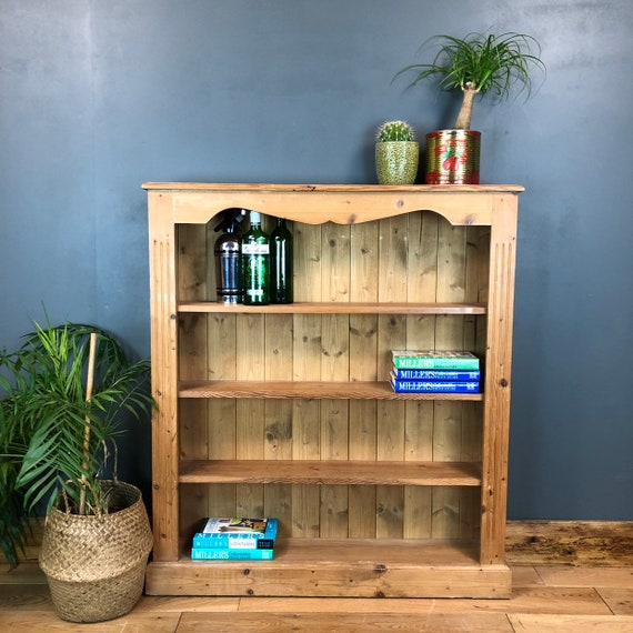 Rustic Vintage Bookcase Shelves Shelving Storage Pine Wooden Unit