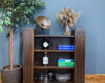 Antique Art Deco Oak Bookcase /Rustic Shelving / Gin Cabinet / Display /Home Bar