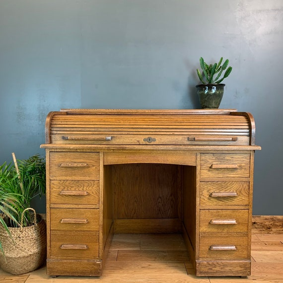 Vintage Antique Oak Roll Top Desk Office Table Sideboard Shabby Chic Rustic