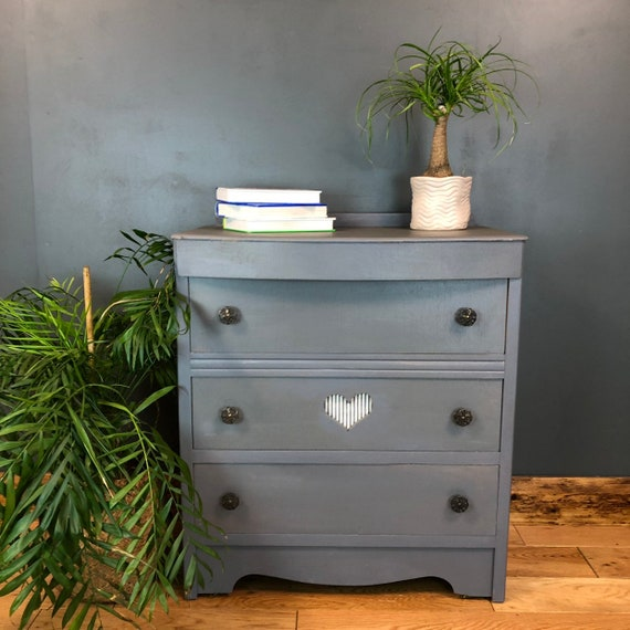 Boho Scandi Drawers Rustic Vintage Painted Shabby Chic Storage Grey/blue Heart