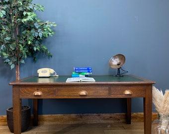 Antique Oak Table / Officers Desk / Leather Top Desk / King George /Edward VIII