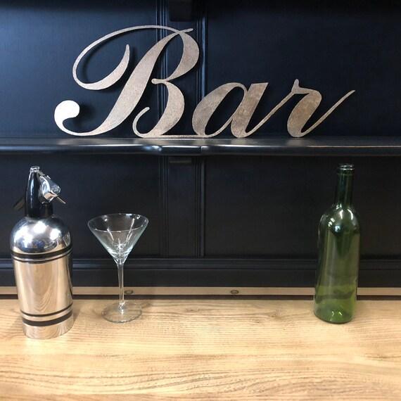 Gold BAR Lettering Letters Sign Metal Shop Home bar Pub Cafe Boho Scandi Drinks