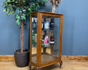 Vintage China Cabinet /Cocktail Cabinet /Mirrored Glazed Display /Drink Cupboard