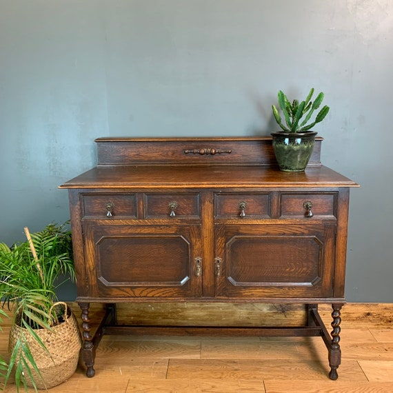 Vintage Rustic Antique Oak Arts & Crafts Sideboard Buffet Cupboard Drawers