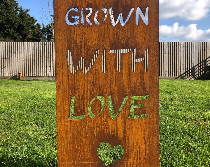 Garden GROWN WITH LOVE sign / rusty metal / lawn decor / garden ornament  / flowerbed decoration / garden lover gift / plant sign / flowers