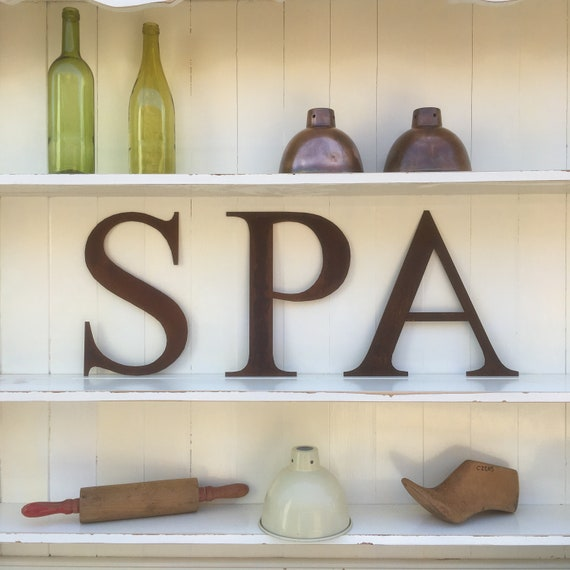 SPA Rusty metal word letters, shop home sign house name, lettering, rusted, industrial, vintage, numbers, pub, bbq
