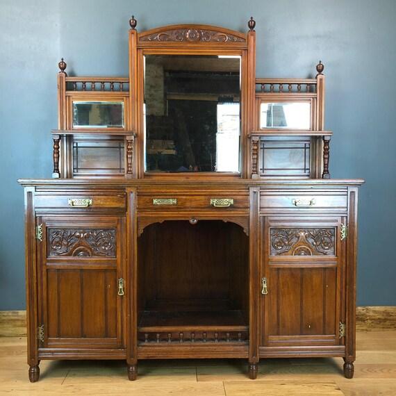Antique Buffet Server Sideboard Mahogany Cupboard Rustic Art Nouveau Dresser