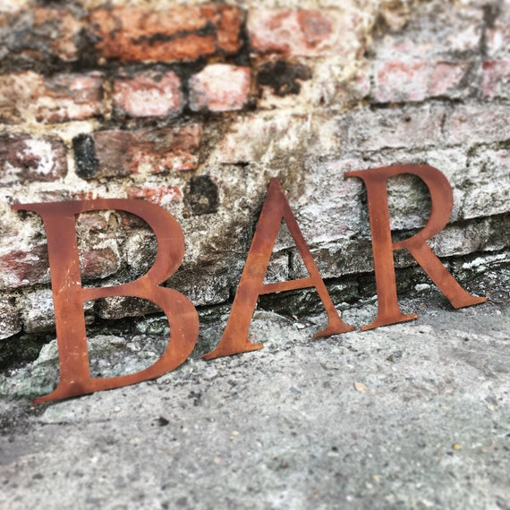 BAR Rusty metal word letters, shop home sign house name, lettering, rusted, industrial, vintage, numbers, pub, barbers