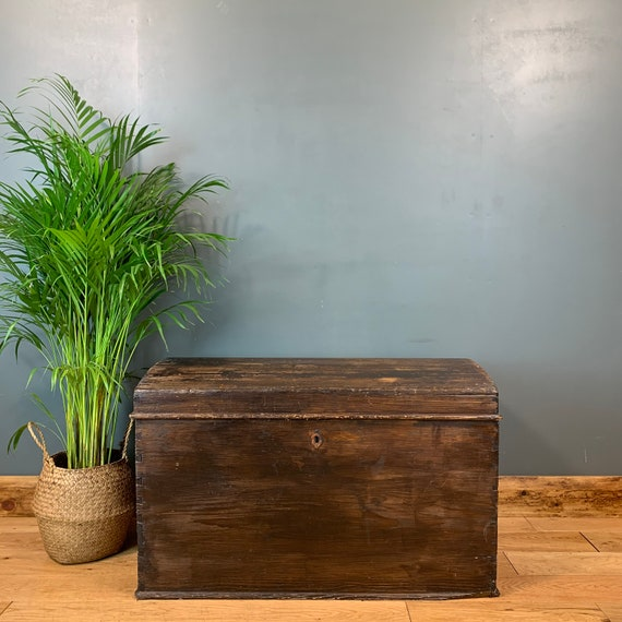 Vintage Antique Pine Travelling Dome Top Trunk Chest Blanket Box Rustic Storage