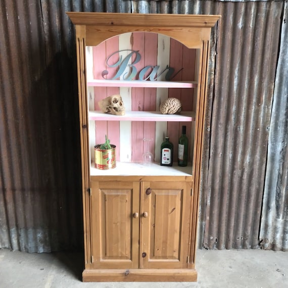 Pretty Pine Cupboard Bookcase Shelves Dresser Painted Shabby Chic Pink White