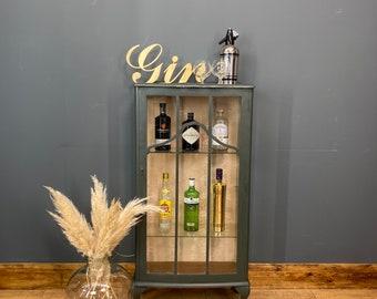 Vintage China Cabinet / Cocktail Cabinet /Glazed Mahogany Display / Green / Bar