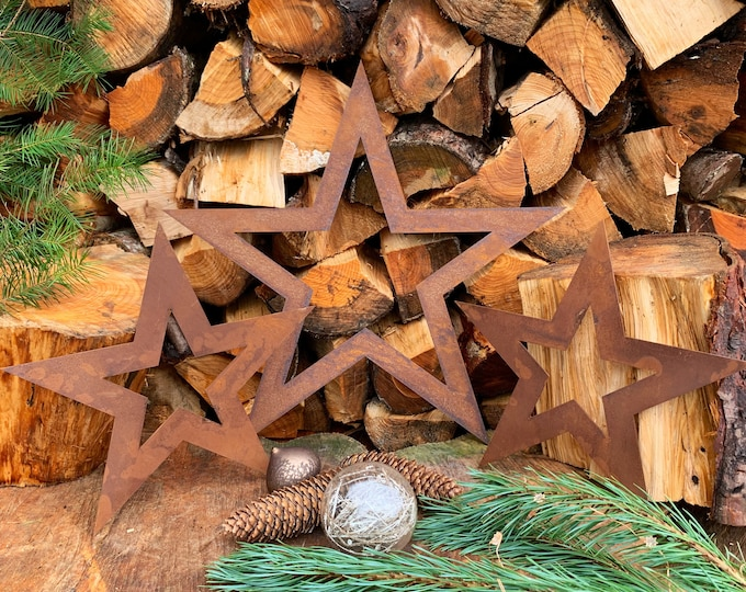 Rustic 3 X rusty  METAL STARS , Christmas mantle decoration , christmas ornament , rustic Sign ,  Metal Nordic decoration , rustic christmas