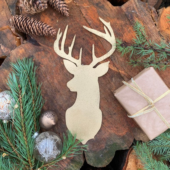 Rustic Gold STAGS HEAD Metal Christmas Decoration Antlers Sign Metal Shop Home