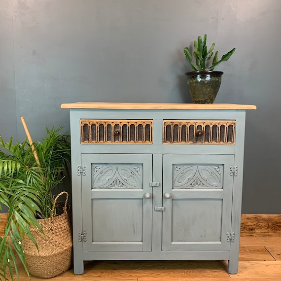 Vintage Cupboard Drawers Sideboard Painted Shabby Chic  Rustic Light Blue/grey