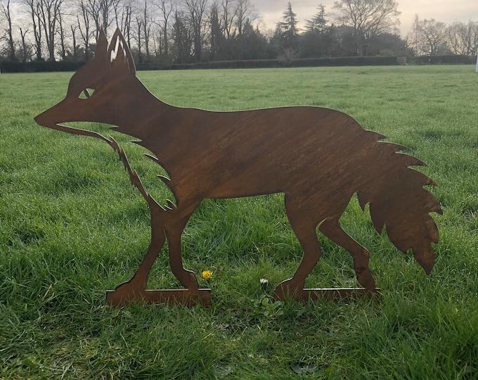 FOX Garden ornament ,  FOX garden statue , RUSTIC garden decoration , animal Silhouette , Garden Feature , rustic garden decor  ,rusty metal