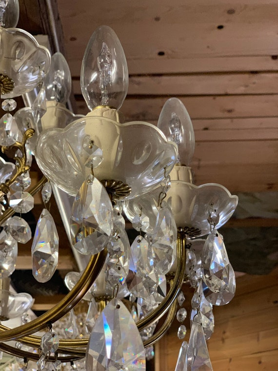 Vintage gilt metal & CRYSTAL CHANDELIER Large Multi Arm Light Lighting