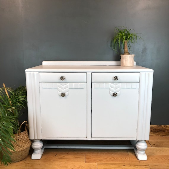 Vintage Painted Grey Upcycled Shabby Chic Sideboard Cupboard Rustic Drawers