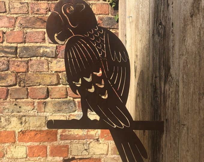 Rusty Metal PARROT GARDEN DECORATION , Garden ornament , silhouette sign , garden decoration , garden feature , bird sign , metal bird