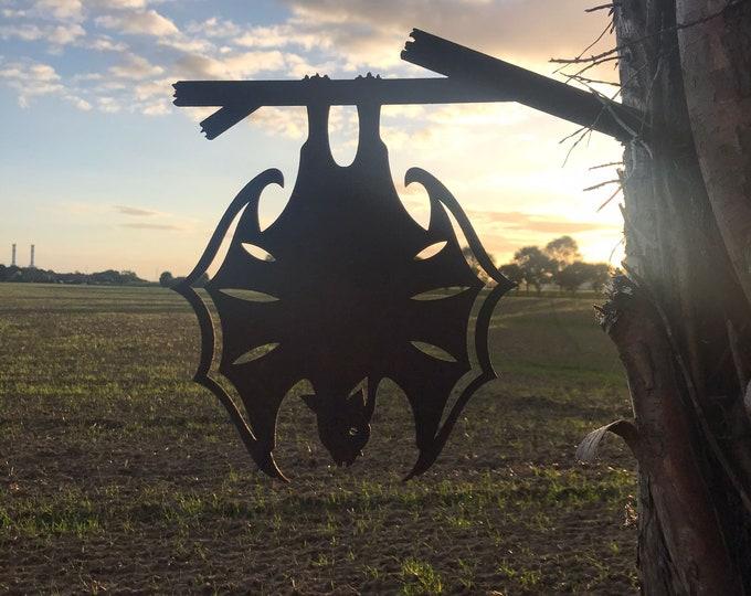 Rusty Metal , HANGING BAT , Garden silhouette ,Garden sign , Garden Ornament , Garden decoration , garden feature , metal bird.