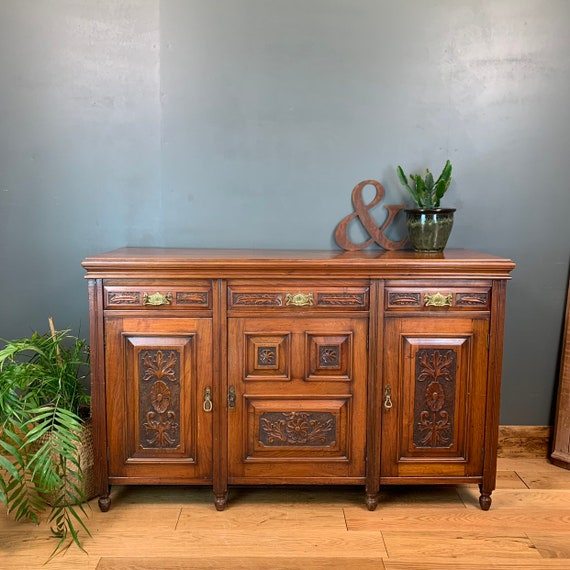 Antique Buffet Server Sideboard Mahogany Cupboard Drawers Rustic Art Nouveau