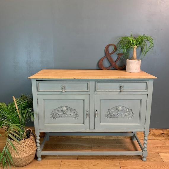 Vintage Cupboard Drawers Sideboard Painted Light Blue Green Rustic Cabinet