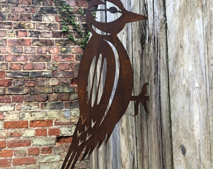 Rusty Metal, WOODPECKER , Garden silhouette, garden sign , garden Ornament , garden decoration , garden feature , metal bird.