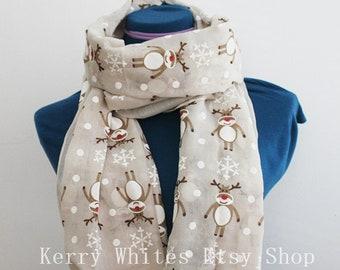 Rudolph reindeer Christmas lights Scarf scarves gift novelty festive presents