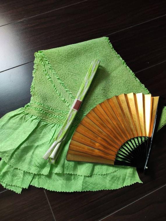DARK GREEN Shibori Obiage /& Obijime Set SILK