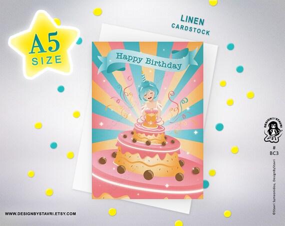 Birthday Card Cute Anime Girl In A Birthday Cake Dress Etsy