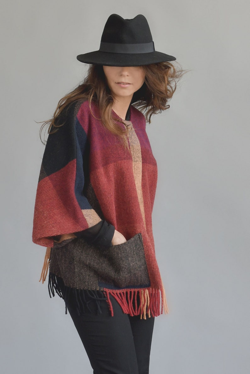 wrap wool jacket washable natural with pockets coat one size light unlined orange mum jjtextile with fringes brown worm black