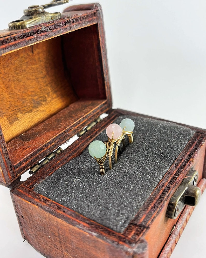 Handmade Morganite Jewelry Tiny Morganite Faceted Wire Wrapped Ring